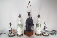Five Figural Table Lamps Mid Century