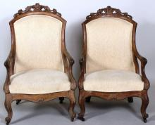 Pair Victorian Oak Arm Chairs 19th c.