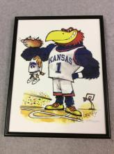 KU Basketball - Framed Jayhawk and Wildcat Caricature by Mike Lester