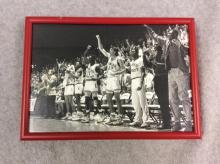 Framed Black and White Photograph - KU Basketball Winning Moment