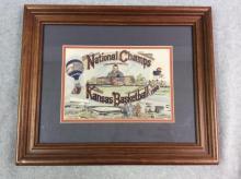Framed Vintage Drawing - 1988 KU Basketball National Champs