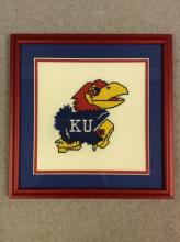 Framed Crocheted KU Jayhawk