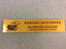 Stamped Piece of Court from Allen Fieldhouse - James Naismith Court