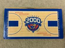 Piece of James Naismith Court in Allen Fieldhouse with Full Court Printed on it