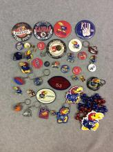 All for One Money: Misc. KU Buttons, Pins, Keychains, Necklaces, and Patches