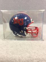 Autographed Gale Sayer Mini KU Football Helmet with Case