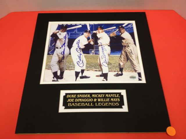 Baseball Legends Autographed Litho of Snider - Mantle - Dimaggio & Mays