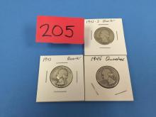 (3) 1940's Washington Quarters (Circulated) - all for one money