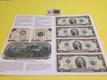 Bureau of Engraving & Printing Commemorative $2 Bills with Pamphlet
