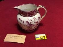 Pink Lustre on Porcelin Pitcher - Circa 1800-1805