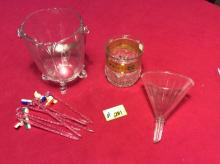 The vintage bar collection- Glass funnel antique glass ice bucket and vintage stirrers