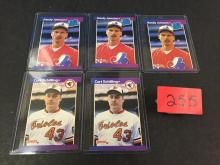 (3) 1988 Leaf Randy Johnson & (2) 1988 Leaf Curt Schilling baseball cards - all for one money