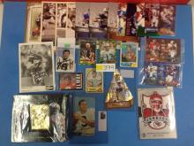 (25) NFL Photos and Memorabilia (Including JSA Cert Autographed Munoz Card) - All For One Money