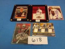 (4) Signed Cards (Eller/Sanders/Simon/Steinbach) & (1) Steelers Jersey Card - All For One Money