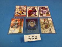 (6) 1991-00 Football Cards Autographed (Bruce/Harrison/Brown/Randle/Reed/Asher)- All For One Money