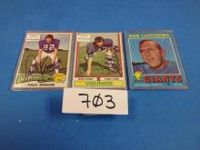 (3) 1971-75 Autographed Football Cards (Krause/Voight/Lurtsema) - All For One Money