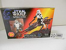 (6) 1995 Hasbro Star wars Imperial Speeder Bike w/ biker Scout (Foreign) N.I.B. for one money