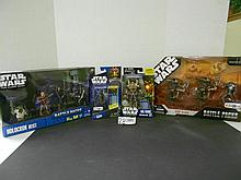 (4) Star Wars (Clone Wars) figures and sets N.I.B. for one money