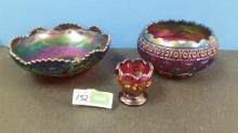 (3) Imperial Purple Octagon Pattern Dishes - Bowl, Rose Bowl, Small Rose Bowl - All For One Money