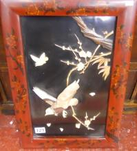 Oriental mother-of-pearl bird & bamboo picture