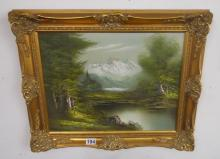 Oil on canvas in gilt frame - Mountains and lake signed 'Jackson'