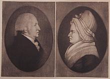 A Mezzotint of George & Martha Washington