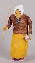 Johnson Antonio (Native American, b. 1931 - ) Wood Carving, Old Woman