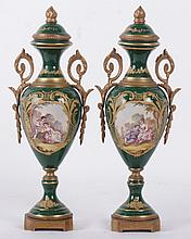 A Pair of Sevres Type Porcelain Urns