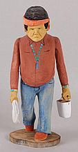 Johnson Antonio (Native American, b. 1931 - ) Wood Carving, Man Holding a Bucket