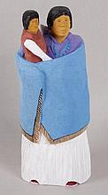 Johnson Antonio (Native American, b. 1931 - ) Wood Carving, Woman Holding a Child