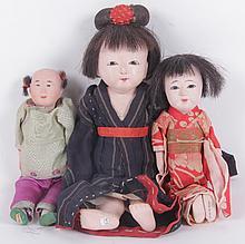 Three Asian Dolls, Early 20th Century