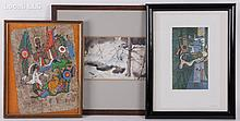 Estate Lot of Art Including Native American Painting on Bark