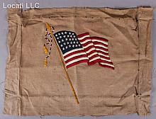 A Circa 1850 Needlework Picture of the U.S. Flag