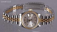 A Ladies Rolex Oyster Stainless Steel and 18K Gold Wristwatch