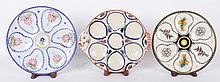 Three Quimper Oyster Plates