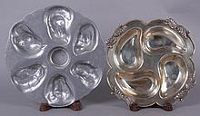 A Silver Plated Four Well Oyster Plate