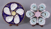 Two Oyster Plates, One Majolica