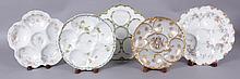 A Group of Five Haviland Limoges Porcelain Oyster Plates