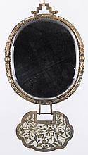 A Chinese Brass and Enamel Hanging Mirror