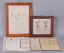 A Group of Pennsylvania Dutch Documents, Fraktur, Etc...