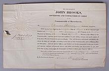 Document Bearing the Signature of John Brooks, Patriot and 11th Governor of Massachusetts