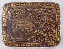 A Japanese Gold Inlaid Iron Miniature Box