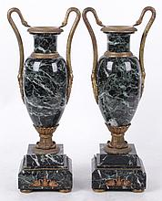 A Pair of French Marble and Ormolu Mantle Urns