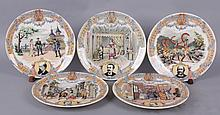 Five French Operetta Plates by Sarreguemines