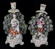 A Pair of 18th Century Derby Porcelain Candlesticks