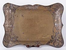 A Bronze Tray With Silver Overlay