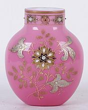 A Late 19th Century Cased Glass Vase with Jeweled Decoration