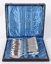 A Set of Coin Silver Spoons, R & W Wilson with Case
