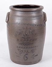 A Williams & Reppert Stoneware Six Gallon Crock