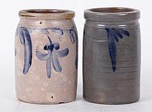 Two Small American Stoneware Crocks